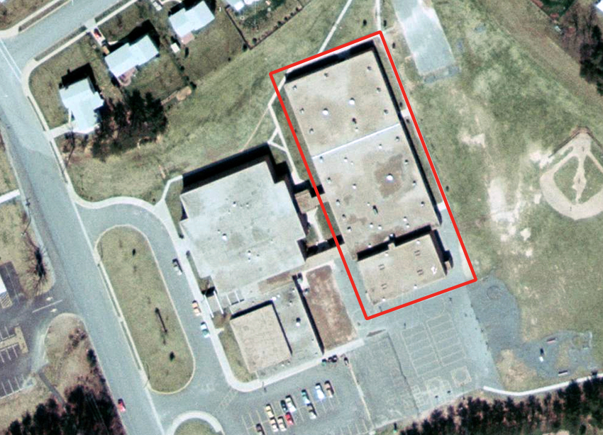 Aerial photograph of Hunt Valley Elementary School taken in 1976.