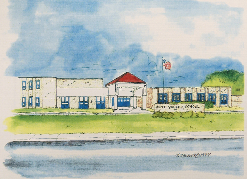 Photograph of a watercolor painting of Hunt Valley Elementary School.